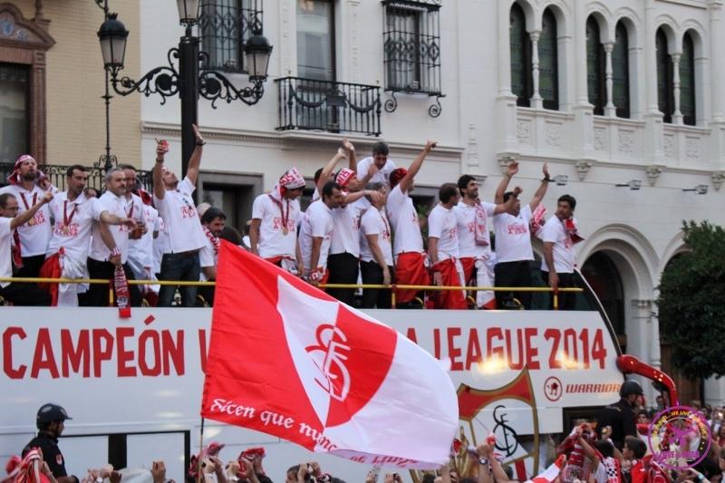 Seville team partying for having won the UEFA European League.
