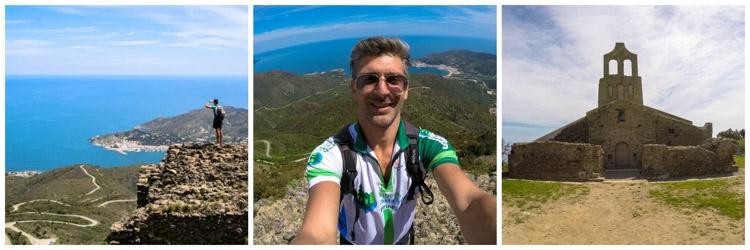homem de esportes nas montanhas e castelo da Catalunya