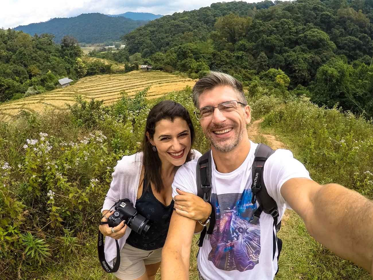 Selfie of bloggers writing about the best things to do in Chiang Mai.