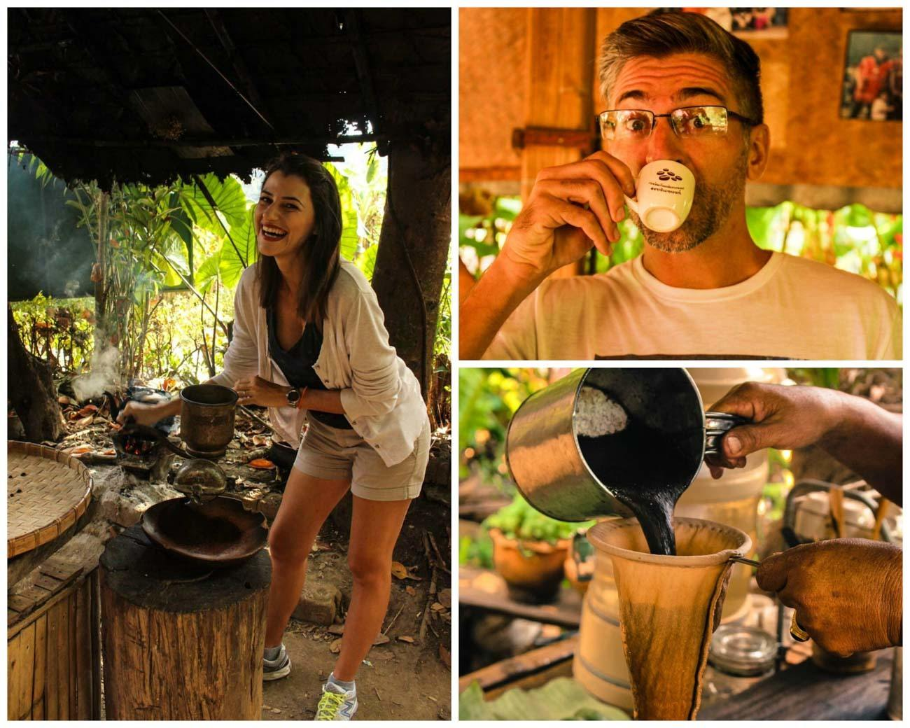 Couple trying coffee from a coffee tour in Chiang Mai.