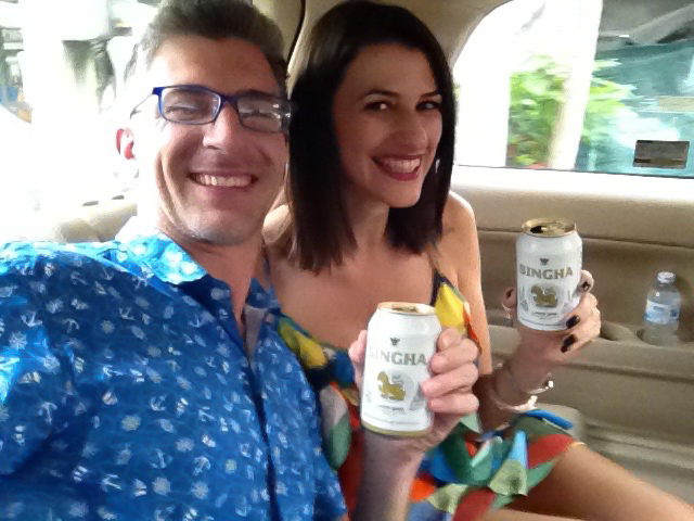 Love and Road bloggers enjoying Singha beers on the way to the Singha Vip Experience.