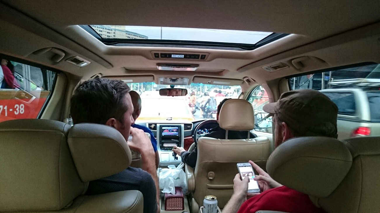 Inside the car with the designated driver for the Singha Vip Experience.