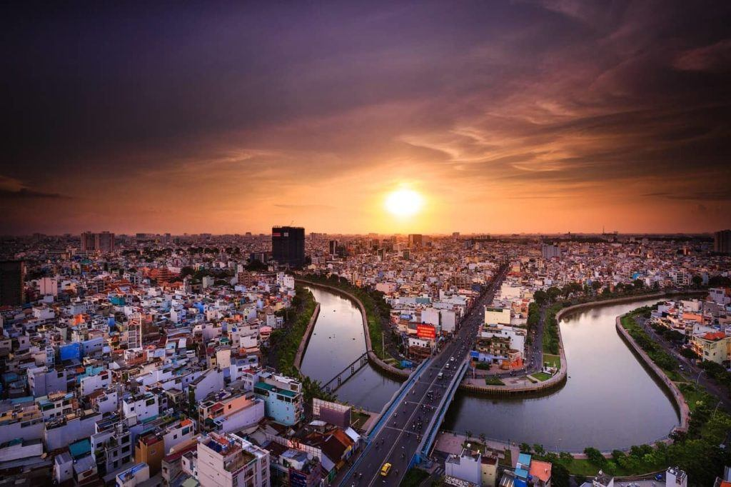 Ho Chi Minh and a beautiful sunset over the city.