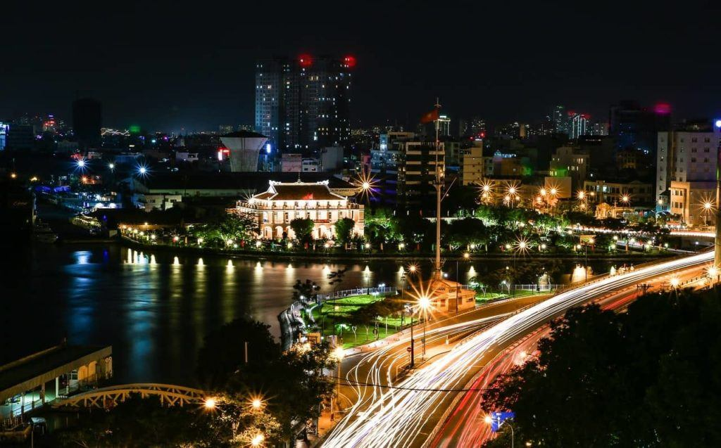 Ho Chi Minh City lit up at night.