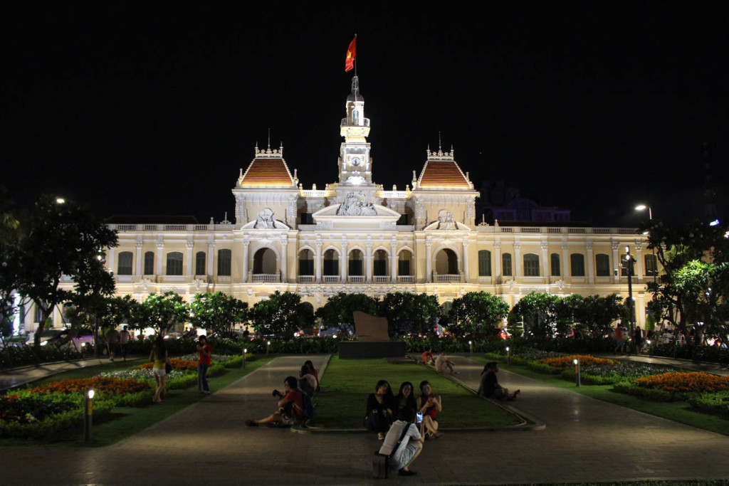 The People's Committee Building is beautiful during night time, an unmissable thing to see in Ho Chi Minh City, Vietnam.