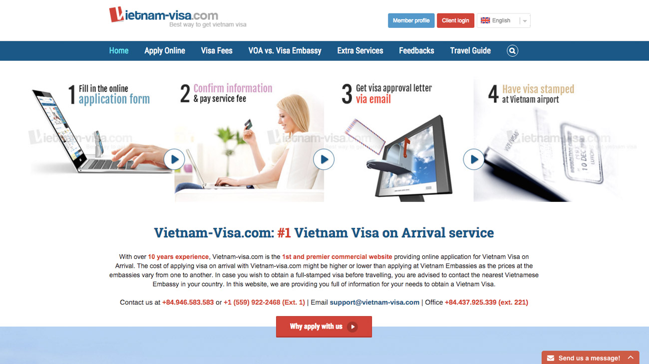 To get the Vietnam tourist visa on arrival you must apply online to start the process.