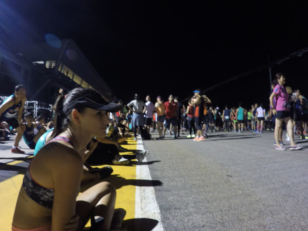 Concentration before the Sundown Marathon Singapore, ready to face my first half Marathon.