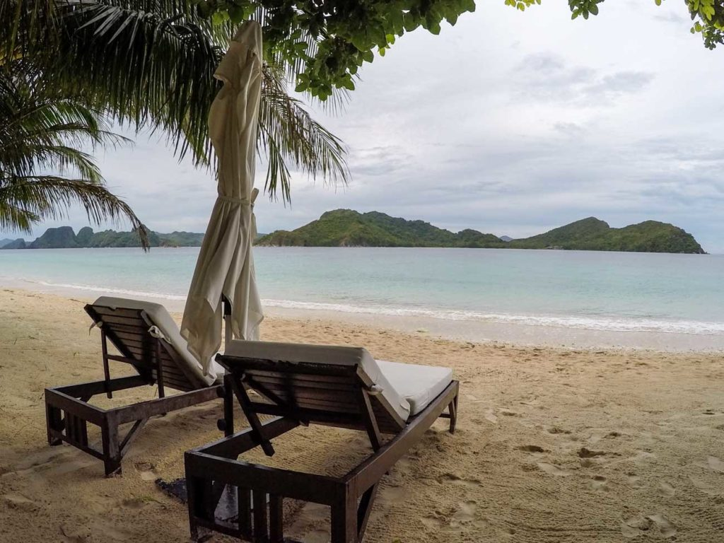 You private beach at Pangulasian Island, the comfort and luxury of El Nido Resorts in The Philippines.