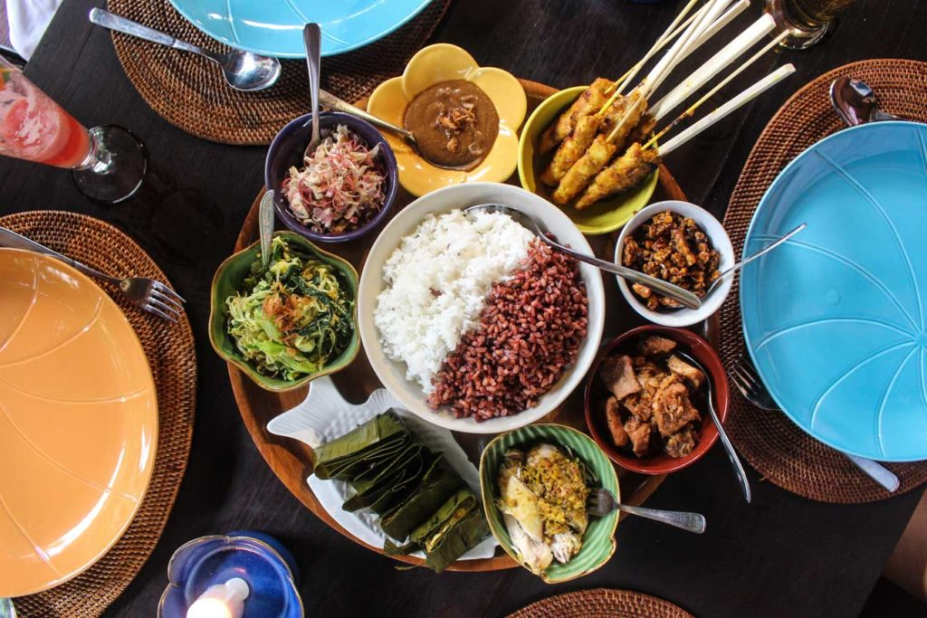 A beautiful plate of Indonesia food served in a restaurant in Bali.