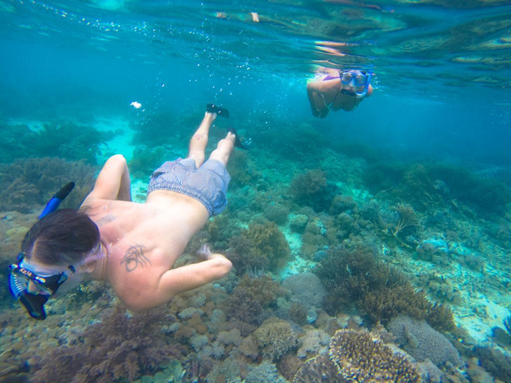 Snorkeling na ilha de Komodo.