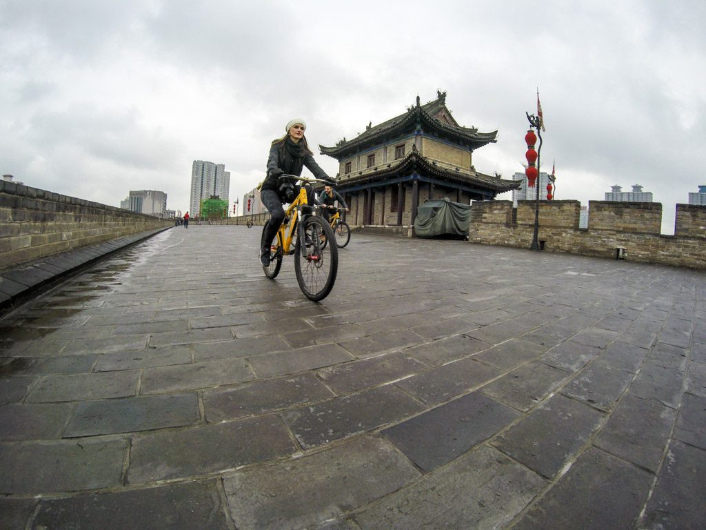 Ride a bicycle on the top of the City Wall, such a cool thing to do in Xi'an. You must do it when travelling to China.
