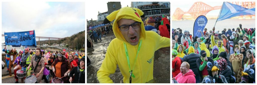 Rob was brave enough to go for a cold dip at the River Forth! Loony Dook at Edinburgh Hogmanay checked!