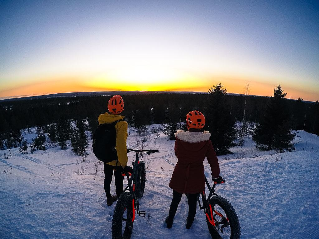 The fat bike ride is one of the top things to do in Rovaniemi, Finland.