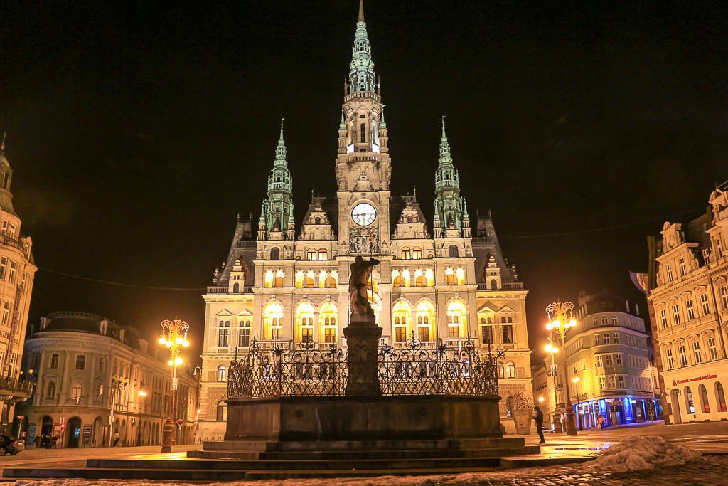 Liberec Town Hall is stunning, especially during night time. Among the best things to do in Liberec is the tour inside the Town Hall.