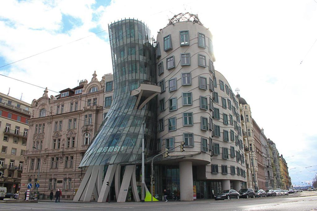 What to do in Prague: the Dancing House is one of the most visited places in Prague, Czech Republic.