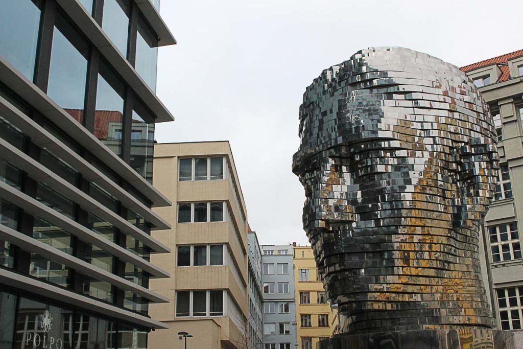 The giant and shining Kafka head is one of the things to see in Prague, Czech Republic.