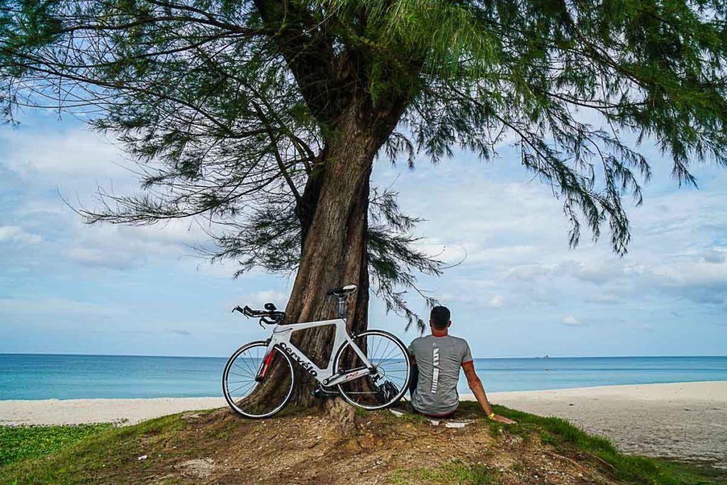 Relaxing at Bang Tao Beach before the Ironman Thailand in Phuket.