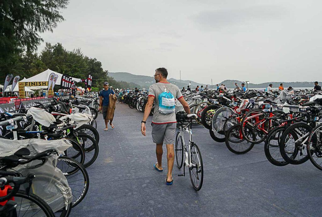 The Ironman Thailand's Transition 1 & 2 ware located ay the same spot in Bang Tao Beach.