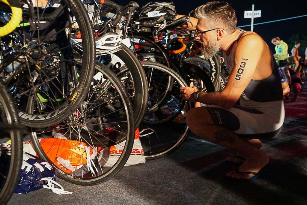Last minute bike inspection before the Ironman Phuket Thailand.
