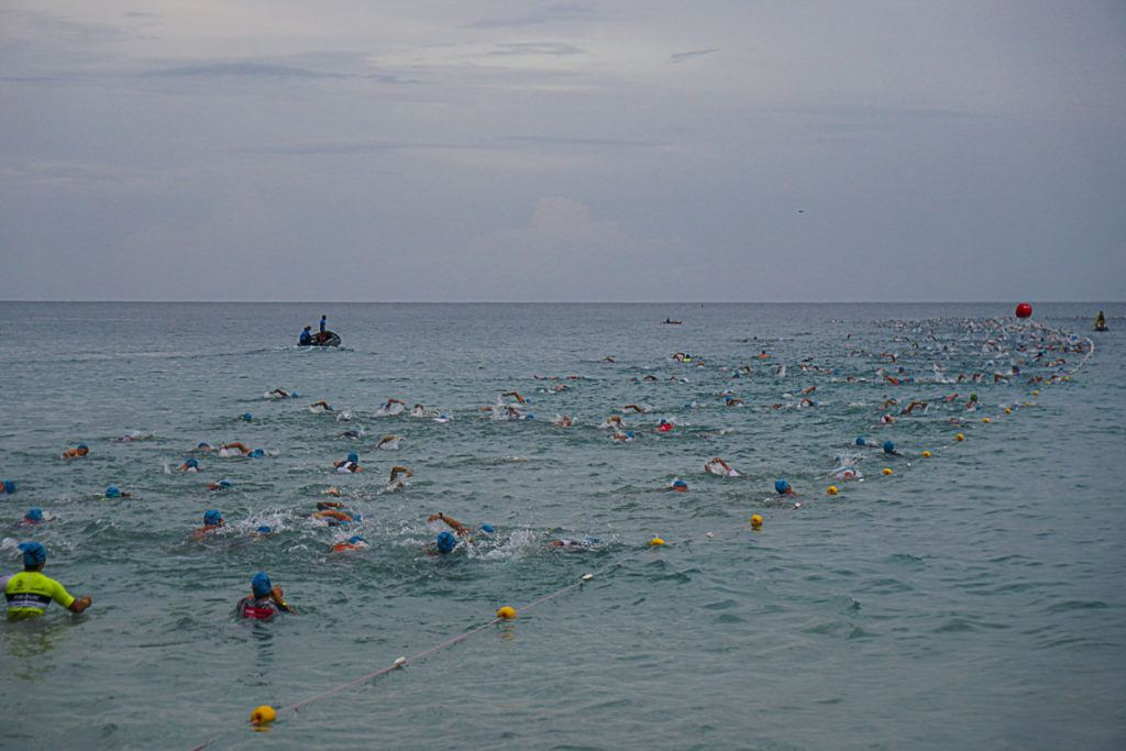 The Swim course at Ironman Thailand is L shaped and easy to navigate through.
