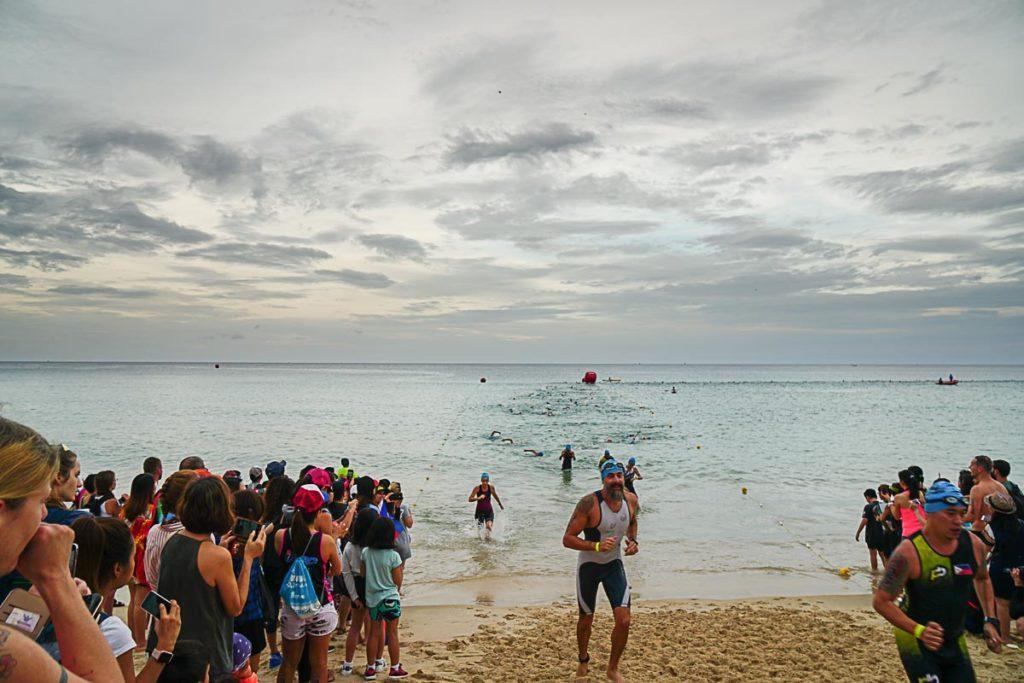 Swimming at Bang Tao Beach was the first leg of Ironman Thailand.