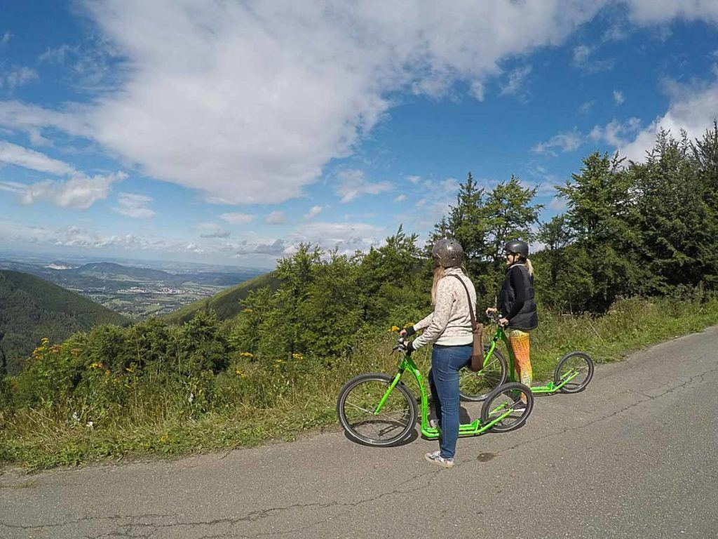 The views from the mountains are beautiful! And the way day on the footbikes is great fun, a bit of adventure on your day trip from Ostrava.