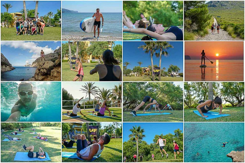 People performing bootcamp exercises and activities, such as high-intensity training, SUP, yoga and hikes.