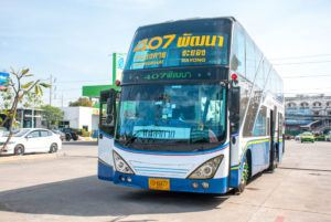 Bus in Thailand, traveling from Bangkok to Rayong.