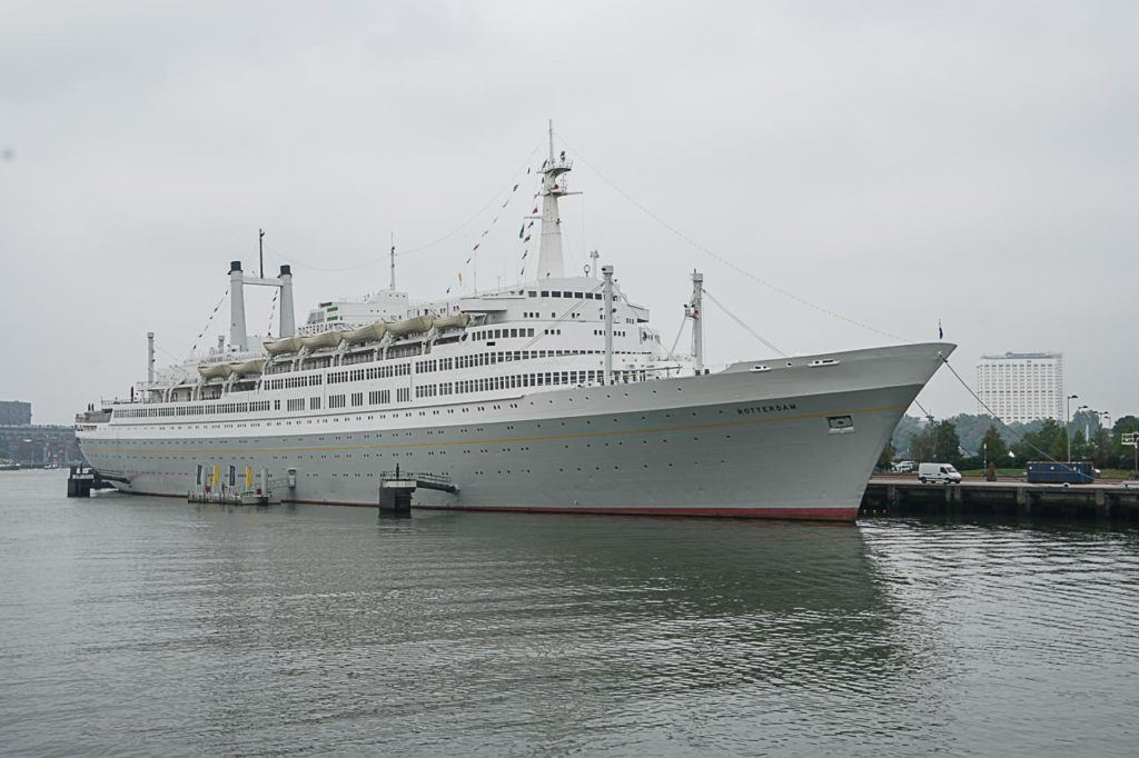 The SS Rotterdam is one of the top attractions in the city and you can see it from the water during a boat tour.