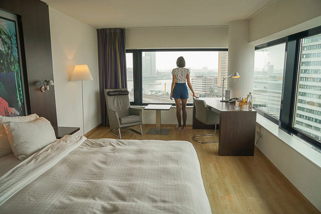 Inntel Hotel Rotterdam has great views of the river, Erasmus bridge and the city.