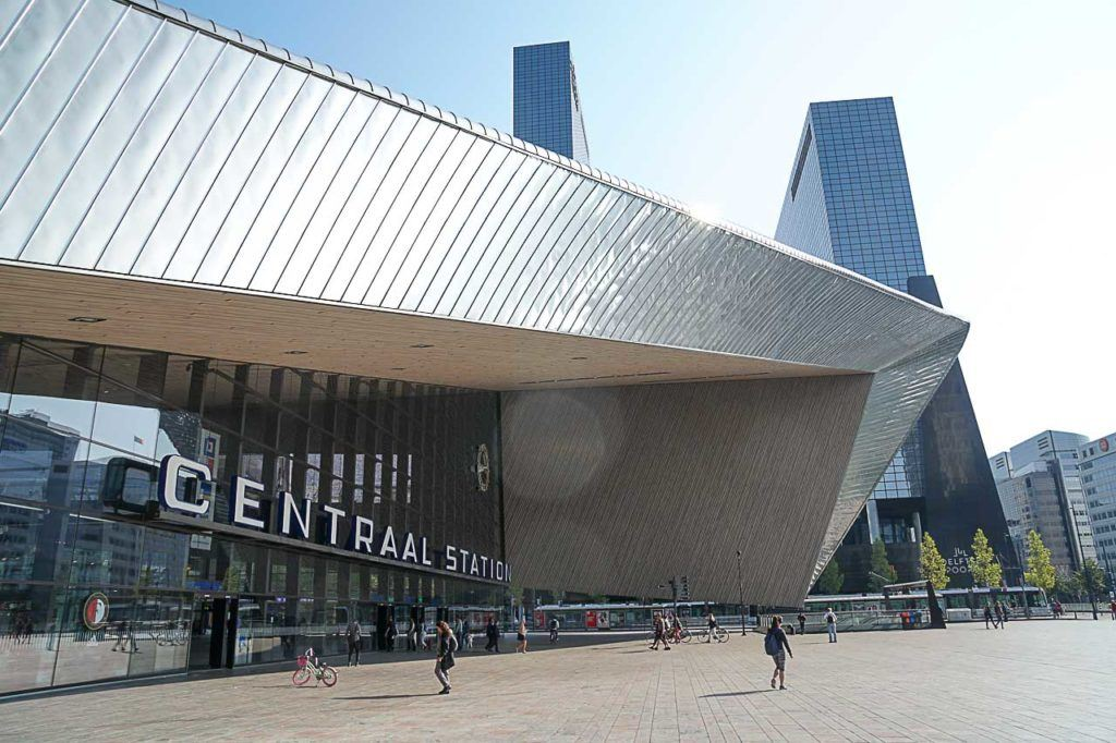 Rotterdam Central Station is more than a transportation hub, the building is stunning and one f the places you must visit in Rotterdam.