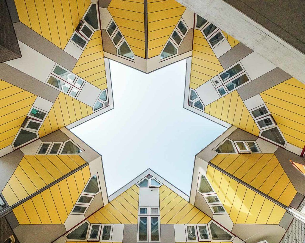 One of the coolest places to stay in Rotterdam is the Cube Houses. If you are looking for a cheap hotel in Rotterdam, check out the StayOkay hostel and sleep in the iconic yellow houses.