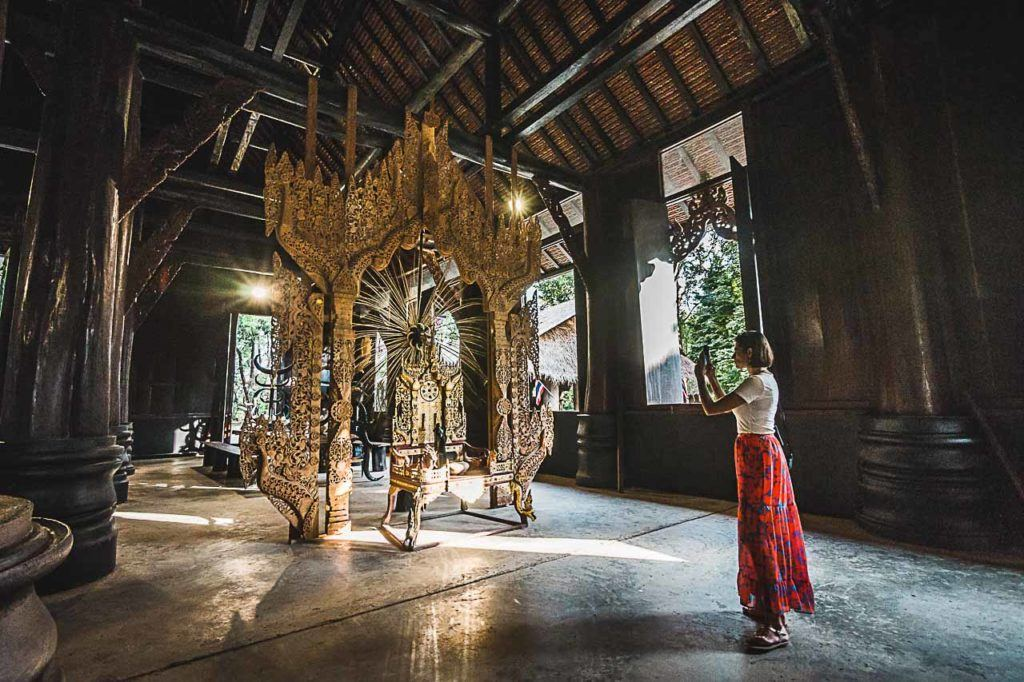 Inside of Chiang Rai Black House, you can see old shrines, skeletons, and dead animals.