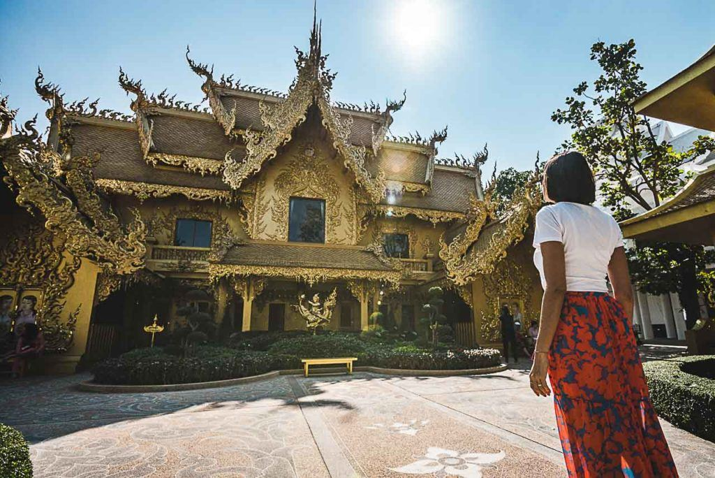 When visiting the White Temple in Chiang Rai don't forget to have a look at the Golden Toilet looks more like a temple or a palace than a bathroom.
