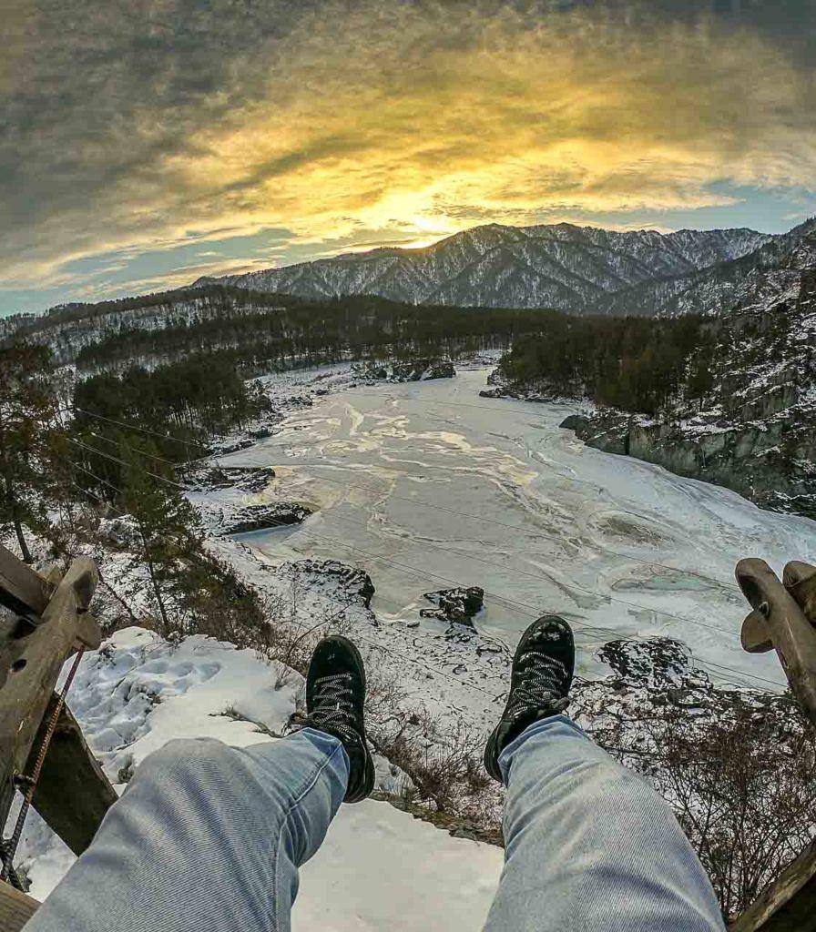 Pôr do sol na Sibéria é um espetáculo cotidiano. Amamos!