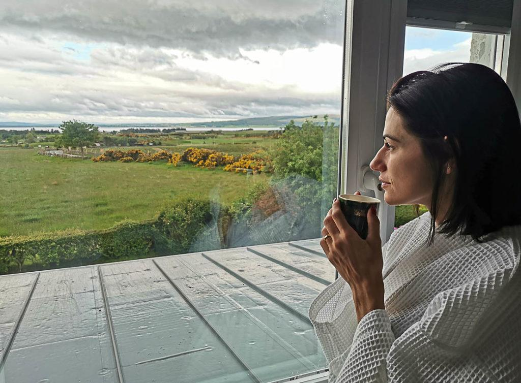 Scottish sky is dramatic, the heavy clouds add a beautiful touch to the green landscape. There are many things to do in Dornoch one of them is to contemplate nature from your hotel window.