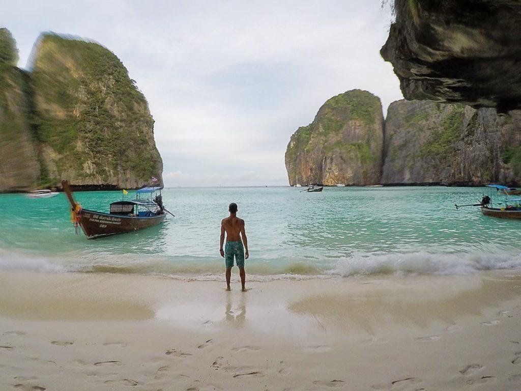 man standing on Phi Phi Island beach