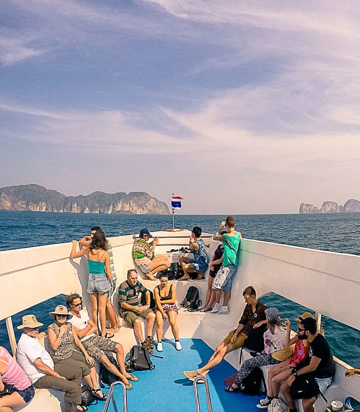 people on a boat to Phi Phi Island