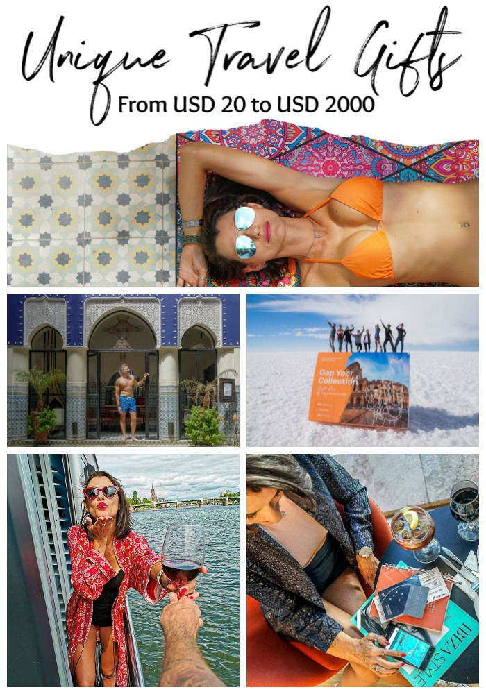 Unique travel gifts for all pockets and tastes. Here is our list of 10 gifts for people who love to travel, from frequent flyer to luxurious or adventurous ones. Travel gift ideas for women, men, beach lovers, photography savvy and even gifts for couples and families. Travel gifts for any type of person and occasion, from 20 bucks to USD2000. Be inspired and give to your friends and family the best travel gifts ever. #travelgiftidea #travelgift #travelgiftforwomen #travelgiftforhim