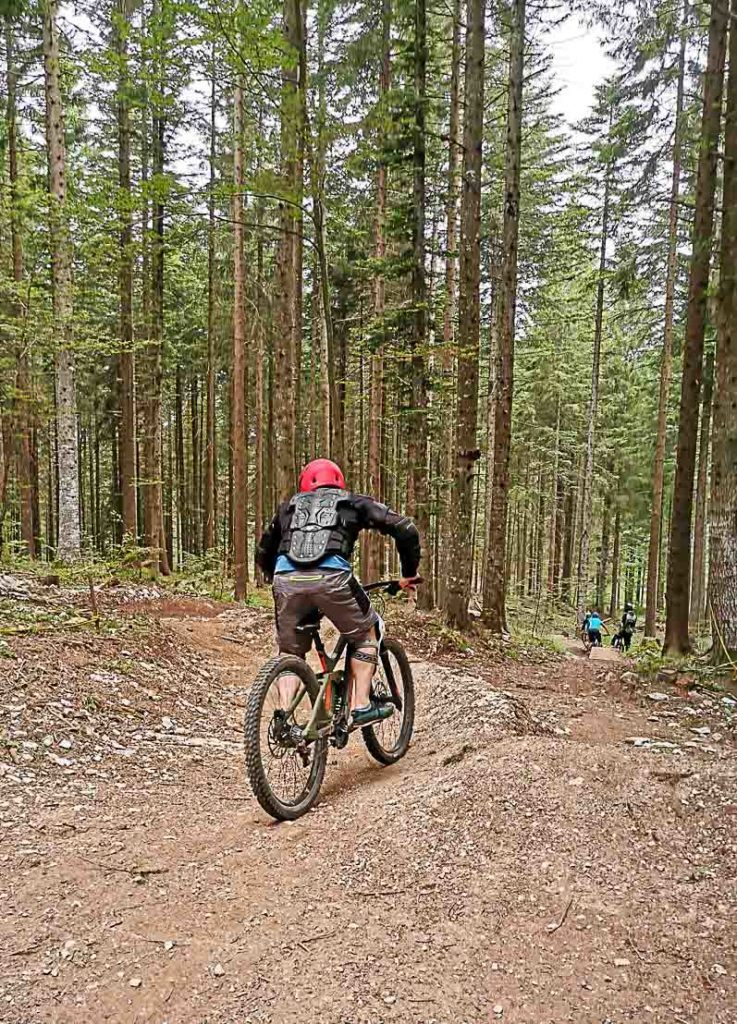 People in the mountain bike park in Lavarone.