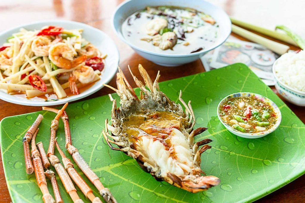 Photo of Grilled Giant River Prawns dish a local food from Ayutthaya, Thailand.