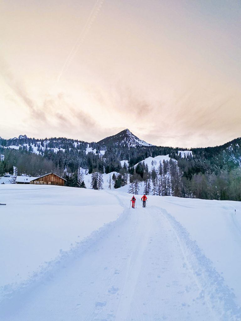 You can do a snowshoe hiking during the sunset in Brandnertal.