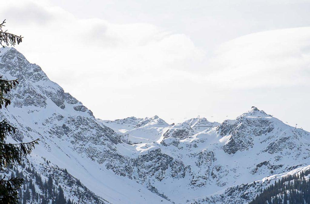Snowy mountains on Montafon ski resort.