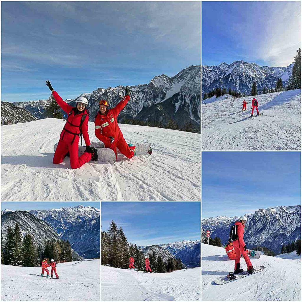 Você pode fazer uma incrível aula de snowboard com a Schischule Brandnertal.