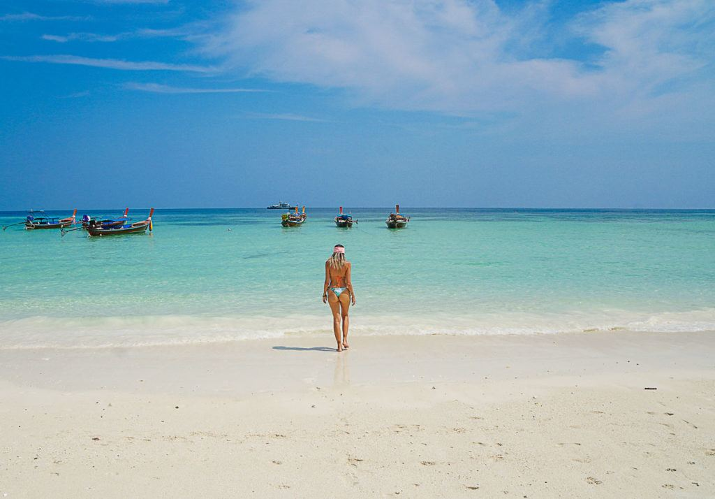 Woman on Pattaya Beach in Koh Lipe, one of the best beaches on the island.