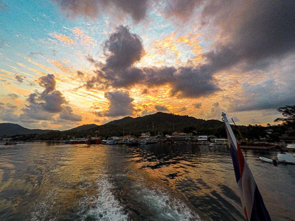 Ferry leaving Mae Haad Pier in Koh Tao, Thailand.