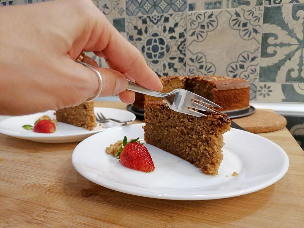 Slice of banana cake made with rice flour, gluten and dairy free.