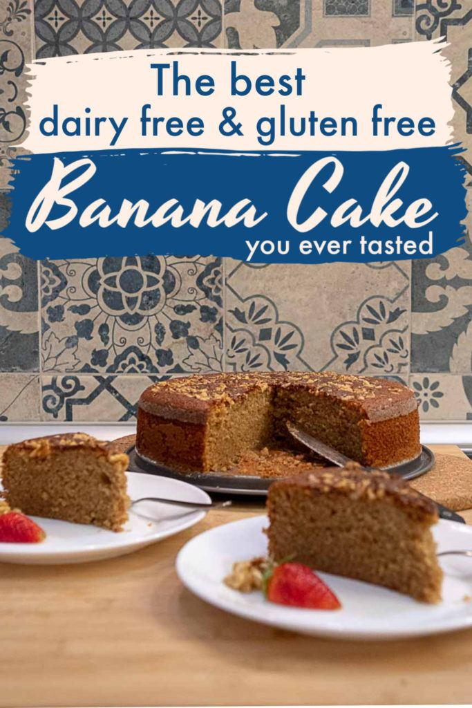 Be ready to bake the best gluten free banana cake ever! Not only gluten free, but this is also a  dairy free banana cake recipe, so anyone can enjoy it. A super easy banana cake made using a blender and basic ingredients you already probably have at home. The result is a yummy and moist banana cake that will make everyone ask for a second or even third slice. #bananacake #bananacakerecipe #bananacakeglutenfree #bananabread #bananacakedairyfree #bananacakelactosefree #moistbananacake