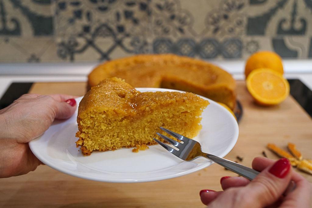 A fluffy piece of the gluten free orange cake.