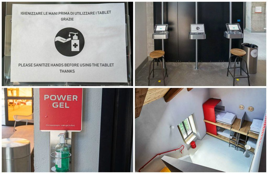 Safety and hygiene signs at a hostel in Turin, Italy.